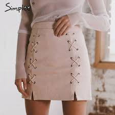 high waisted skirts simplee autumn lace up leather suede pencil skirt winter 2017