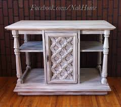 Distressed Wood Bar Cabinet Furniture Makeover Shabby Chic White Vintage Buffet Tv Stand