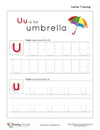 uu is for umbrella preschool tracing letter u u worksheet for
