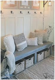entryway bench with baskets and cushions storage benches and nightstands inspirational entryway bench with