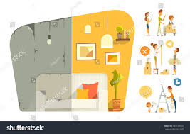 happy family home house flat apartment stock vector 383123974