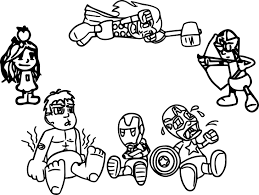 avenger babies cartoon coloring page wecoloringpage