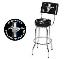 Bar Stool Chairs With Backs Ford Mustang Chrome U0026 Black Tribar Running Horse Bar Stool Chair W