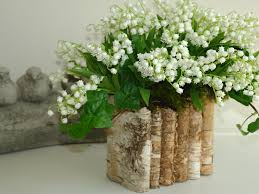 wedding flowers valley of the valley in birch bark vase arrangement by aniamelisa