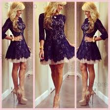new fashion crew neck long sleeve short lace cocktail dress girls
