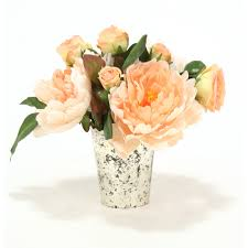 mercury glass urn vase peach peonies and roses in mercury glass vase free shipping in