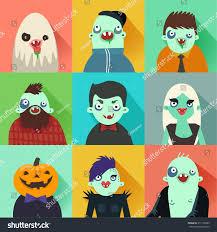 halloween illustrations happy hipster halloween set avatars flat stock vector 217126585