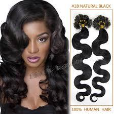 inch 1b natural black wavy nail tip human hair extensions 100s