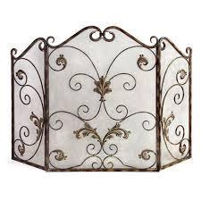 tuscan brown patina antique gold iron mesh scroll 3 panel fireplace screen doors imax