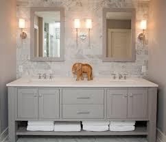 open bathroom vanities rustic with framed mirror cherry tops