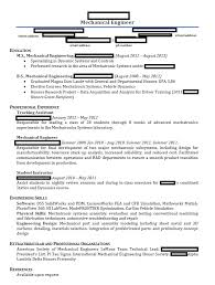 Engineering Graduate Resume Sample by Mechanical Engineering Student Resume Resume Template 2017