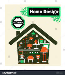 schematic representation home household items stock vector