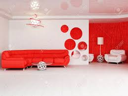 modern interior design of living room with a bright red sofa