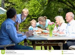 Family In The Garden Big Family Having Lunch In The Garden Stock Photo Image 44675977