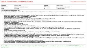 Night Auditor Resume Energy Auditor Cv Work Experience Samples