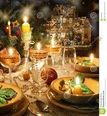 Dinner Table Christmas Dinner Table With Christmas Mood Royalty Free Stock
