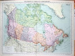 Manitoba Canada Map by 14 Print 1935 Map Canada Newfoundland Manitoba Alberta Edward