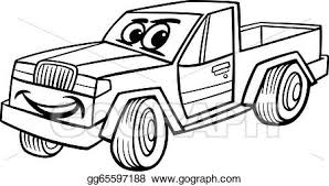 vector art pickup car cartoon coloring clipart drawing