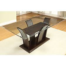 Amazon Com Gretchen Rectangular Glass Top Dining Table Tables Glass Top Dining Room Tables Rectangular