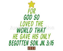christmas tree john 3 16 machine embroidery design holiday bible
