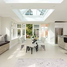 Open Plan Kitchen Diner Ideas White Dining Room With Skylight Beautiful Kitchen Decorating