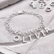 name charm bracelet personalised sterling silver name charm bracelet hurleyburley