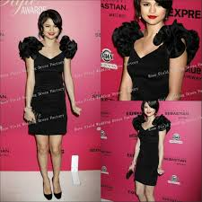 awn awards black ruffle shoulder cocktail dress selena gomez at 6th annual