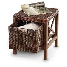 storage wood and rattan storage ottoman removable storage drawer