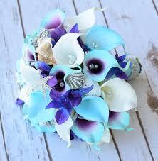 blue lilies calla lilies wedding bouquet weddbook