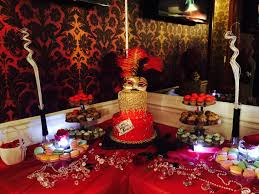 Sweet 16 Party Centerpieces For Tables by Sweet Table At A Masquerade Themed Red Black Gold Party Party