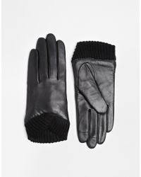 ugg sale asos asos black leather gloves with knitted cuff and touch screen detail product 1 23207628 1 112637574 normal jpeg