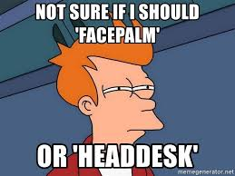 Head Desk Meme - not sure if i should facepalm or headdesk futurama fry meme