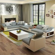 Leather And Fabric Living Room Sets Living Room Furniture Modern U Shaped Leather Fabric Corner