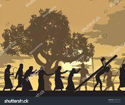 jesus carries cross jesus carries cross stock vector 206895550