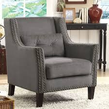 Nailhead Accent Chair Grey Accent Chair W Nailhead Trim And Pillow Coaster Furniture