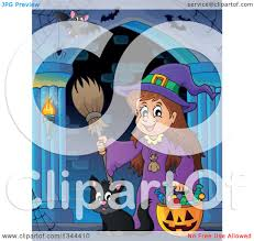 clipart of halloween clipart of a cartoon happy witch with a jackolantern pumpkin