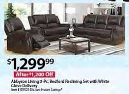 abbyson living bradford faux leather reclining sofa bjs wholesale club black friday 2017 ad