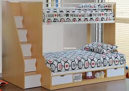 Beech Trio Triple Bunk Beds With Staircase Storage At Sleepland Beds - Triple trio bunk bed