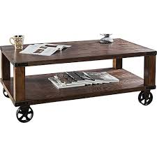 Coffee Tables With Wheels Veria Industrial Modern Wheeled Dark Oak Coffee Table 8f825