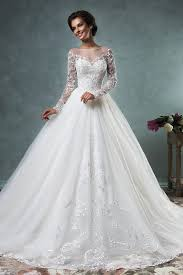 Elegant Wedding Dresses 2017 A Line Wedding Dresses Sheer Neck Lace Long Sleeves Butoons