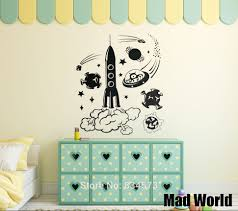 online get cheap alien space stickers aliexpress com alibaba group mad world space alien rocket childrens wall art stickers wall decal home diy decoration removable