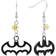 batman earrings licensed black batman ear cuff chain earring bodycandy
