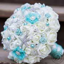 teal flowers real touch wedding bouquets handcrafted by the bridal flower