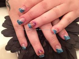 eye candy nails u0026 training acrylic nails with blue zebra print