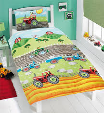 tractor farm sheep green double cotton blend duvet comforter cover