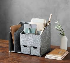 Desk Organizer Brokers Galvanized Multi Desk Organizer Pottery Barn