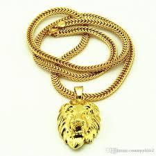 gold plated statement necklace images Wholesale lion head pendants necklace high quality fashion hiphop jpg