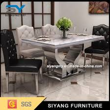 china modern dining room furniture marble top stainless steel