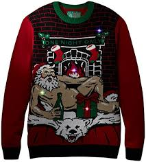 ugly christmas sweater with lights ugly christmas sweater men s romantic santa light up at amazon men s