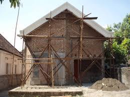 desain teras dan kanopi bergaya klasik untuk rumah 7m x 17m